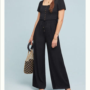 Anthropologie Maeve Siena Jumpsuit Pants Black 8